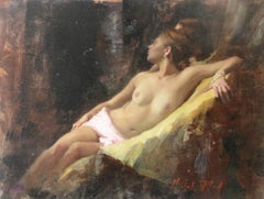 Nude, Seated, Gold Ochre I - original figurative painting Contemporary Art 21st