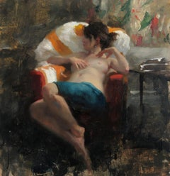 Nude Seated in Red Chair, Cashmere Shawl