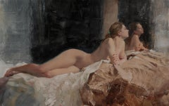 Nude, Taffeta - original figurative female oil painting art 21st C