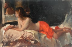 Nude-Vermillion, with Reflection - original figurative painting Contemporary Art