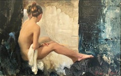 Nude, White Linen - original figurative female oil painting art 21st C