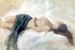 Original Nude Blue Linen Painting