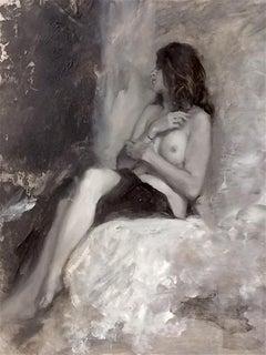 Nude Black & White Original Contemporary Figurative oil painting - 21st Century