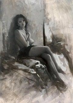 Nude Black & White II original figurative contemporary oil painting 21st Century