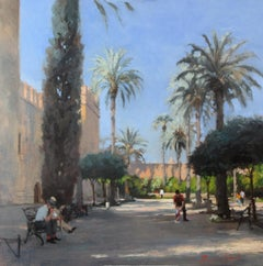 Palace Wall, Cordoba - original landscape oil painting contemporary art 21st C