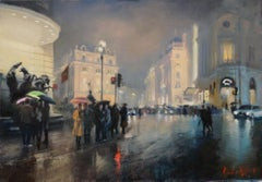 Piccadilly - original people oil painting 21st Century modern buildings London