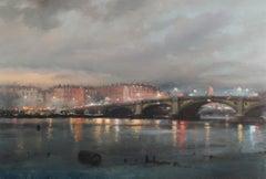 Rain over Chelsea, Battersea Bridge - oil painting 21st c buildings London