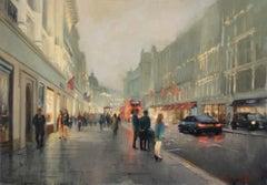 Regent Street - original people painting 21st Century modern buildings London