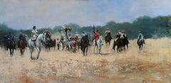 Romería 1 - original figurative landscape painting 21st C modern
