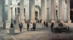 Royal Exchange, Bank Station - original people painting 21st Century modern