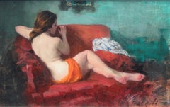 Seated Nude, on Red and Green - modern figurative painting Contemporary Art
