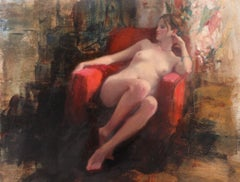 Seated Nude, Red Chair I - original figurative painting modern Contemporary Art