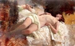 Sleeping Nude Reflection - original female figurative oil painting modern art
