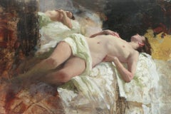 Sleeping Nude, White Fabric - original figurative artwork Contemporary 21st