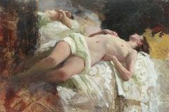 Sleeping Nude, White Fabric - original figurative painting Contemporary Art