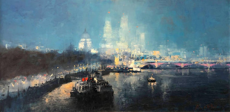 Michael Alford Abstract Painting - St Pauls London original city landscape painting Contemporary Impressionism Art