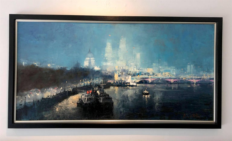 St Pauls London original city landscape painting Contemporary Impressionism Art - Painting by Michael Alford