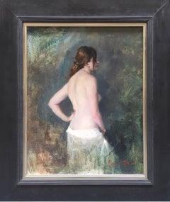 Standing Nude, White Cotton Drape