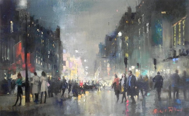 Michael Alford Abstract Painting - West End Piccadilly original city landscape painting Contemporary Impressionism