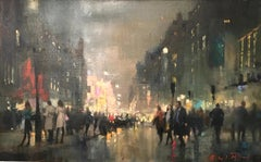 West End Piccadilly-original cityscape oil painting contemporary art 21st C