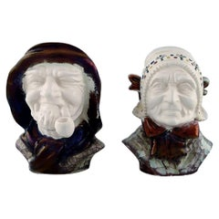 Michael Andersen Ceramics from Bornholm, a Pair of Heads, National Costume