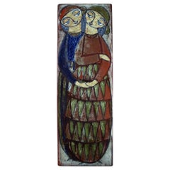 Michael Andersen, Denmark, Large Wall Plaque in Glazed Ceramics with a Couple