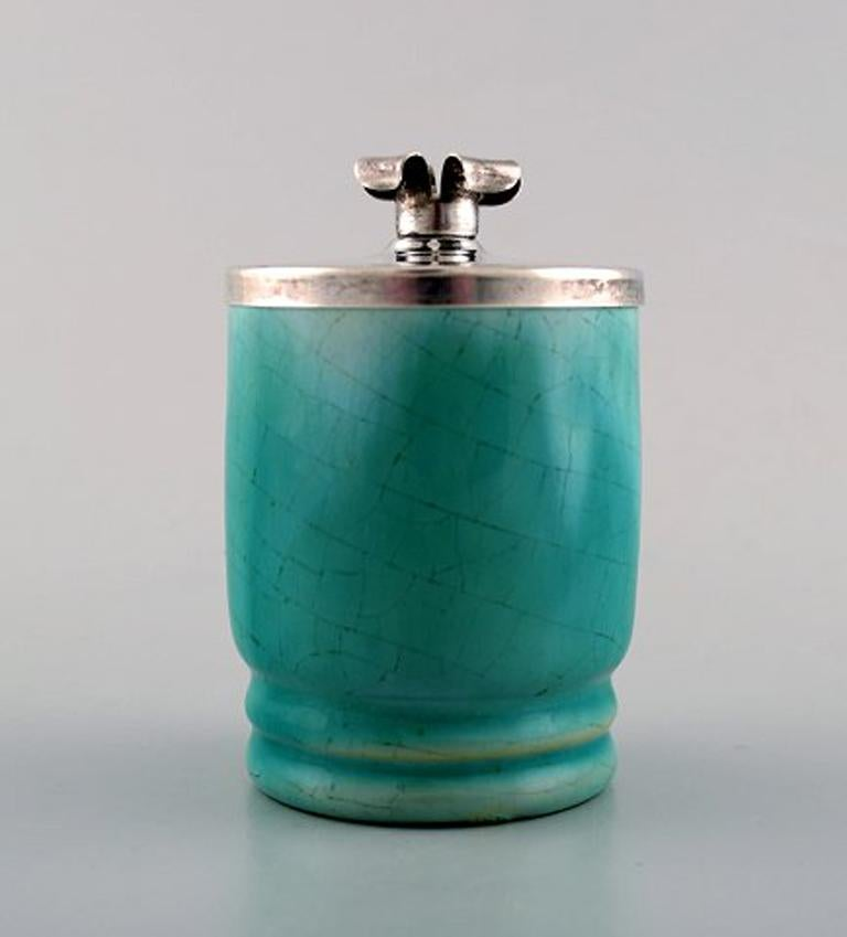 Michael Andersen, Denmark mustard jar in crackled ceramics with silver lid and silver spoon.