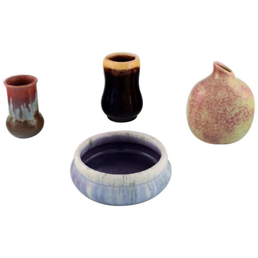 Michael Andersen, Denmark, Three Vases and a Bowl in Glazed Ceramics, 1950s