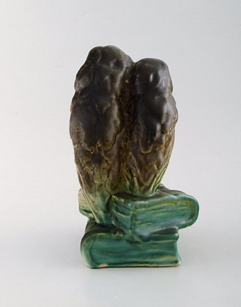 Danish Michael Andersen, Rare Figure in Glazed Ceramics, Two Owls Sitting on Books For Sale