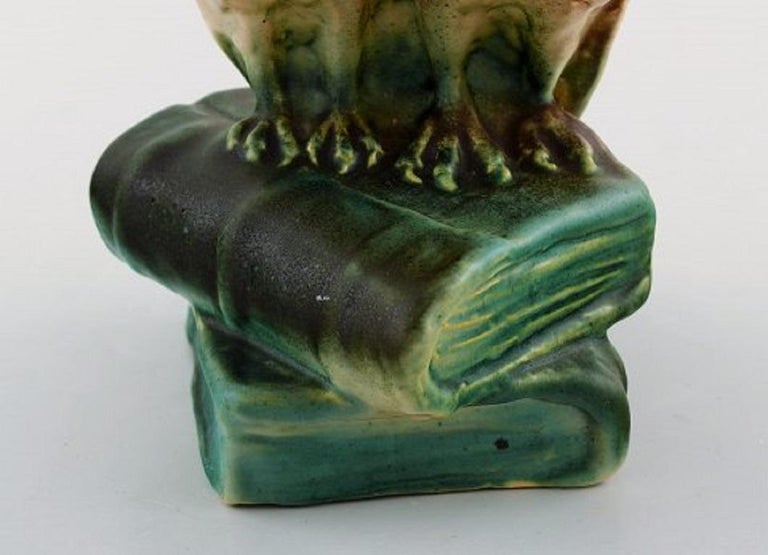Michael Andersen, Rare Figure in Glazed Ceramics, Two Owls Sitting on Books For Sale 1