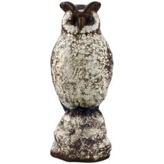Michael Andersen. Rare Owl in Crackled Glazed Stoneware, 1950s-1960s
