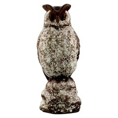 Michael Andersen, Rare Owl in Crackled Glazed Stoneware, 1950s-1960s
