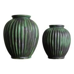 Michael Andersen Scandinavian Mid-Century Modern Green Ceramic Vases, 1940s