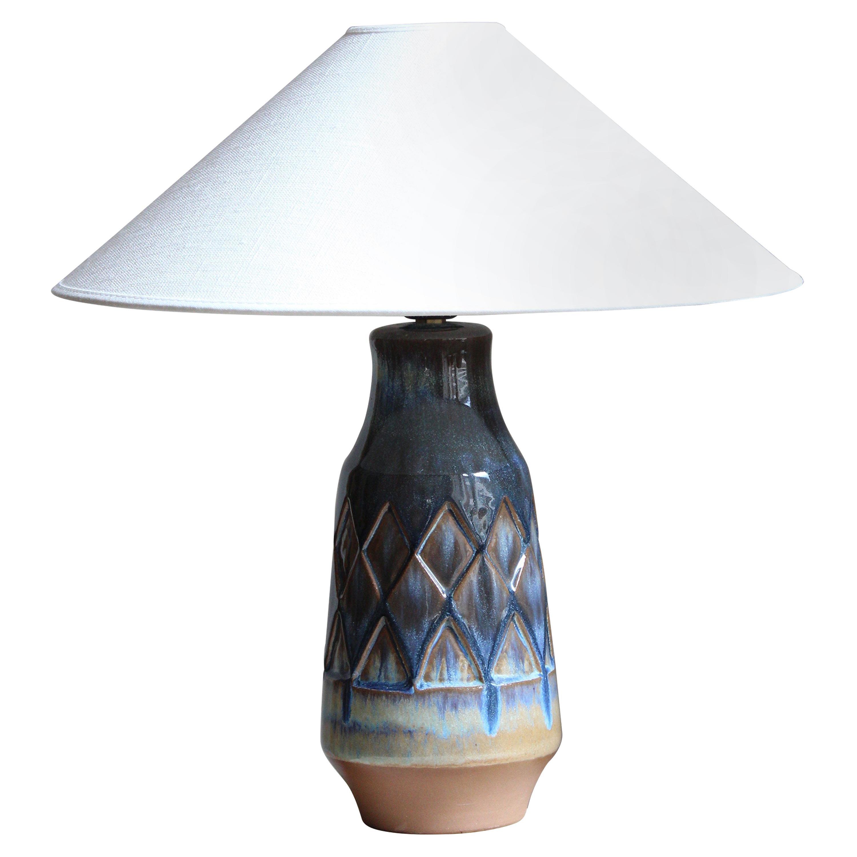 Michael Andersen, Table Lamp, Glazed Incised Stoneware, Bornholm, Denmark, 1960s