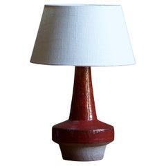 Michael Andersen, Table Lamp, Red Glazed Stoneware, Bornholm, Denmark, 1960s
