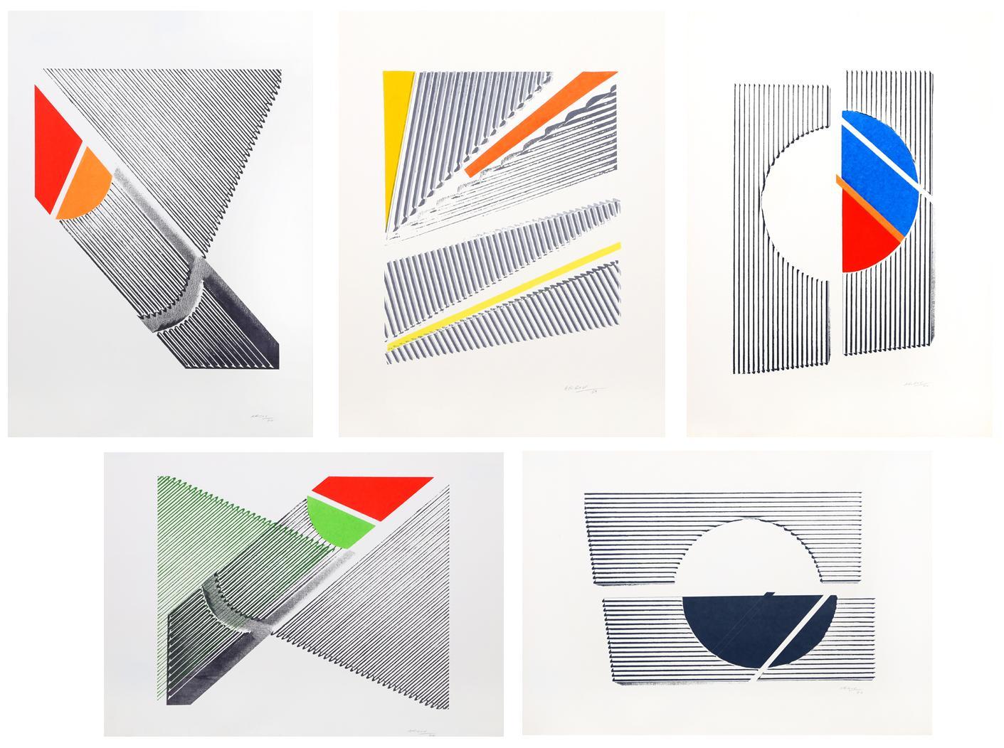 Suite of Five Minimalist Abstract Silkscreens, 1969-70