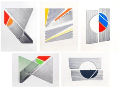Suite of Five Minimalist Abstract Silkscreens, 1969-70