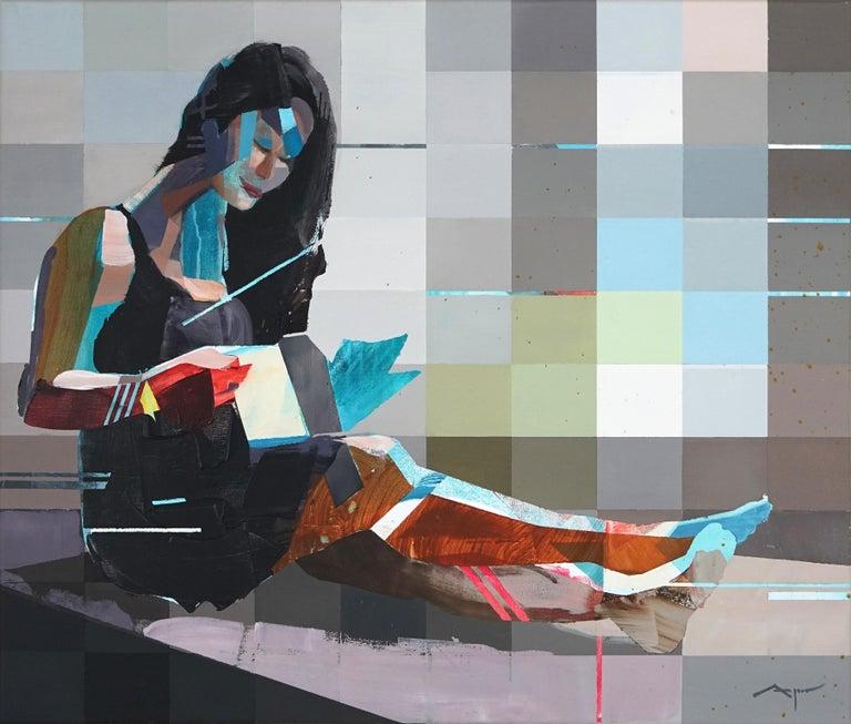 Michael Azgour Figurative Painting - Jennifer reading- blue grey abstract and figurative painting of a women