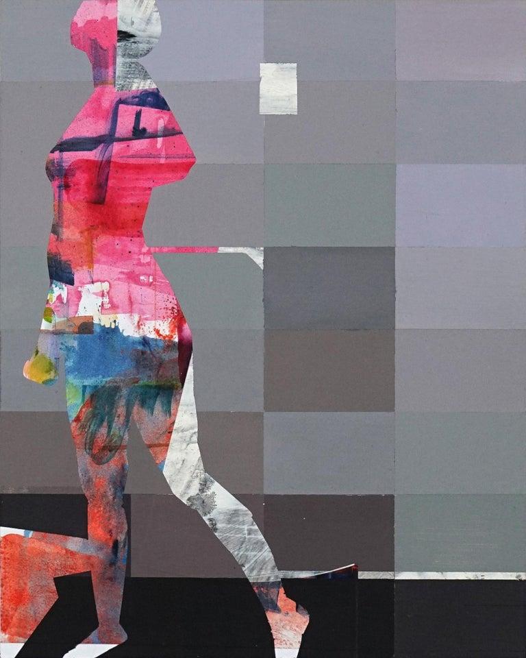 Michael Azgour Figurative Painting - Pixel Study 1 - colorful abstract and figurative painting and photo of a women