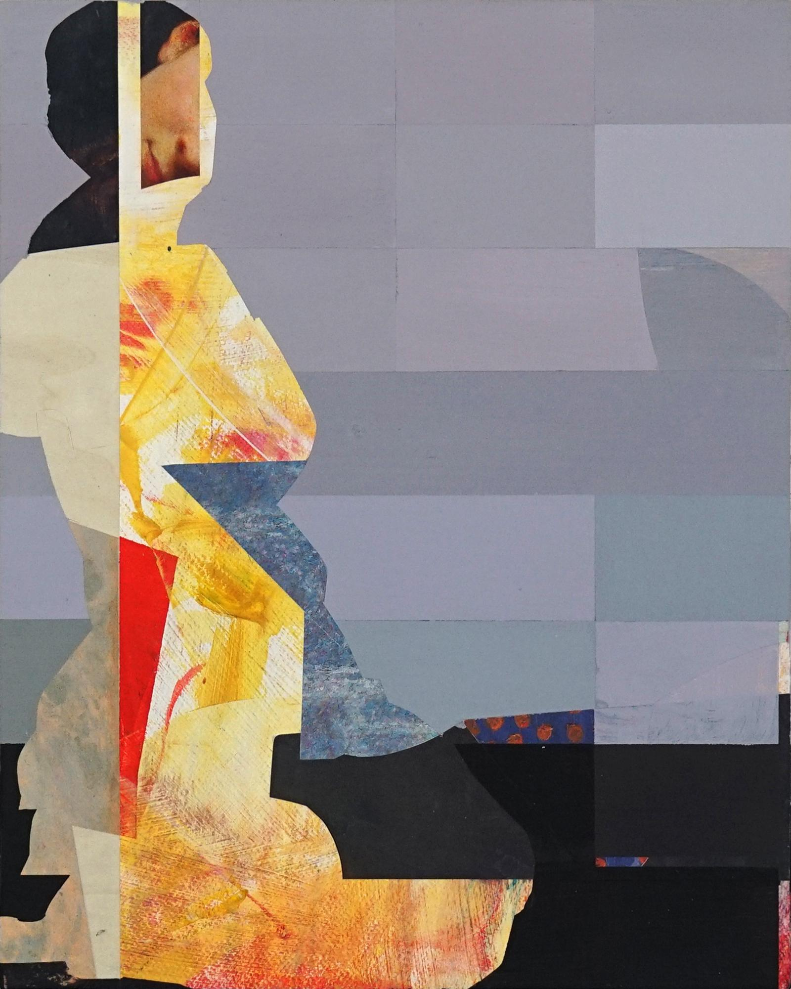 Pixel Study 2 - yellow gray abstract figurative painting and photo of a women