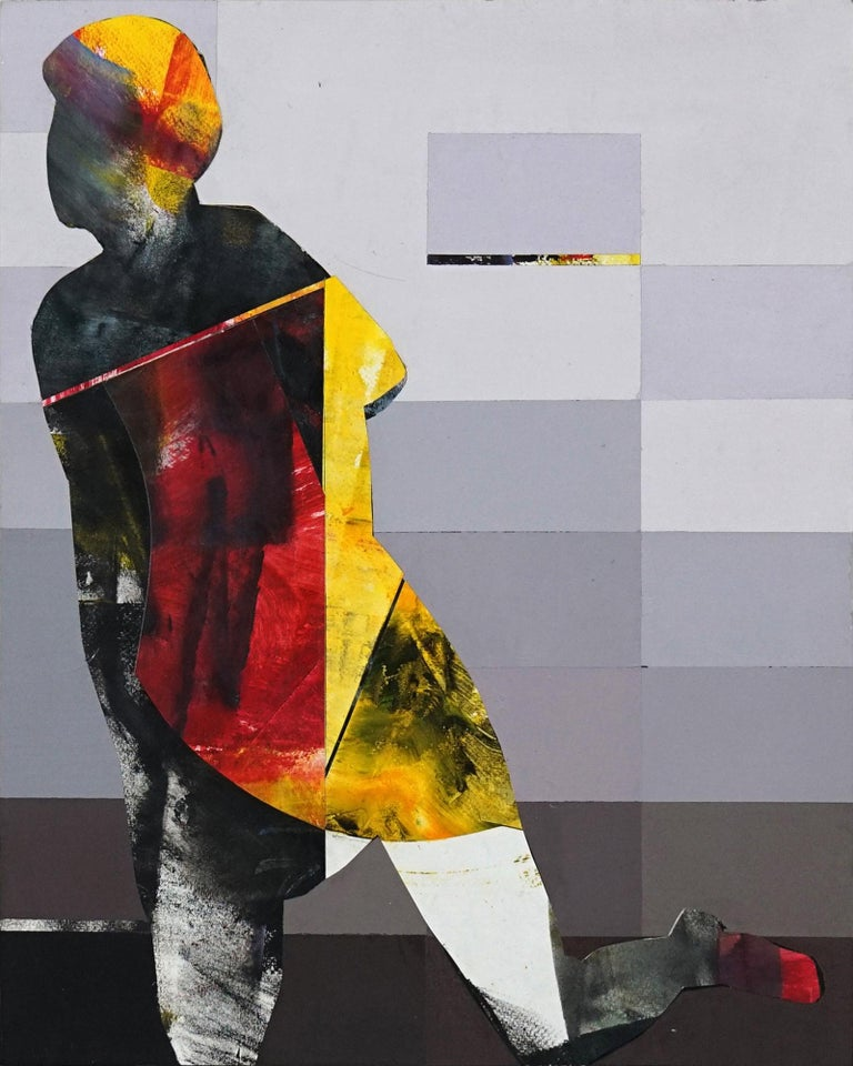 Michael Azgour Abstract Painting - Pixel Study 3 - colorful abstract and figurative painting and photo of a women