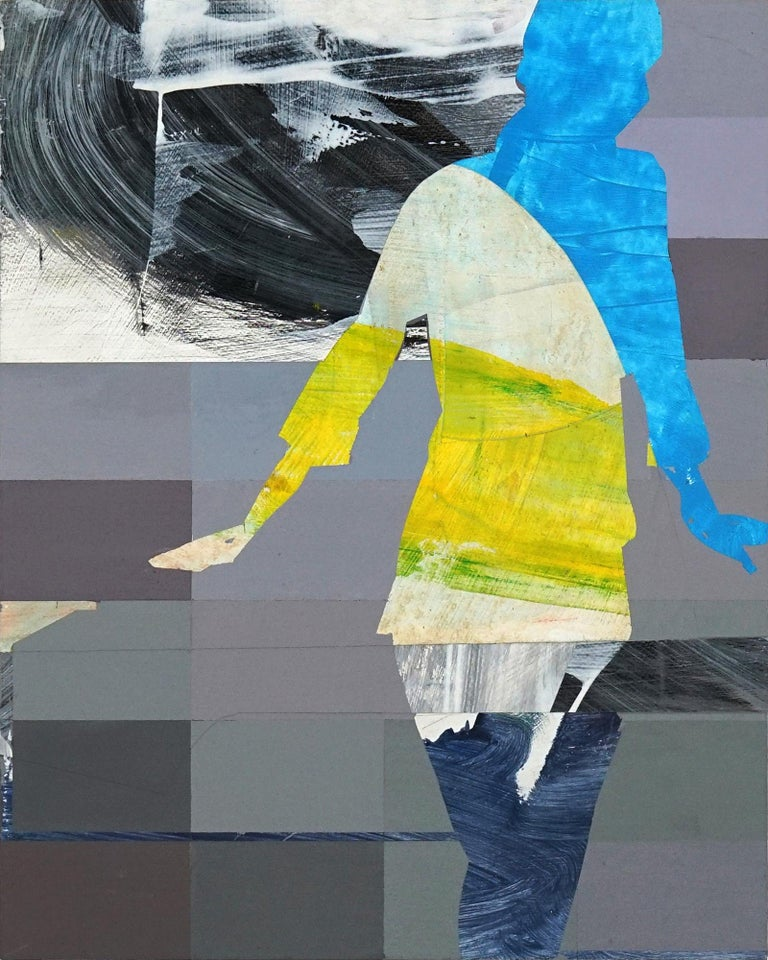 Michael Azgour Abstract Painting - Pixel Study 4 - colorful abstract and figurative painting and photo of a women