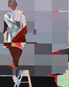 Pixel Study 5 - red gray abstract and figurative painting and photo of a women