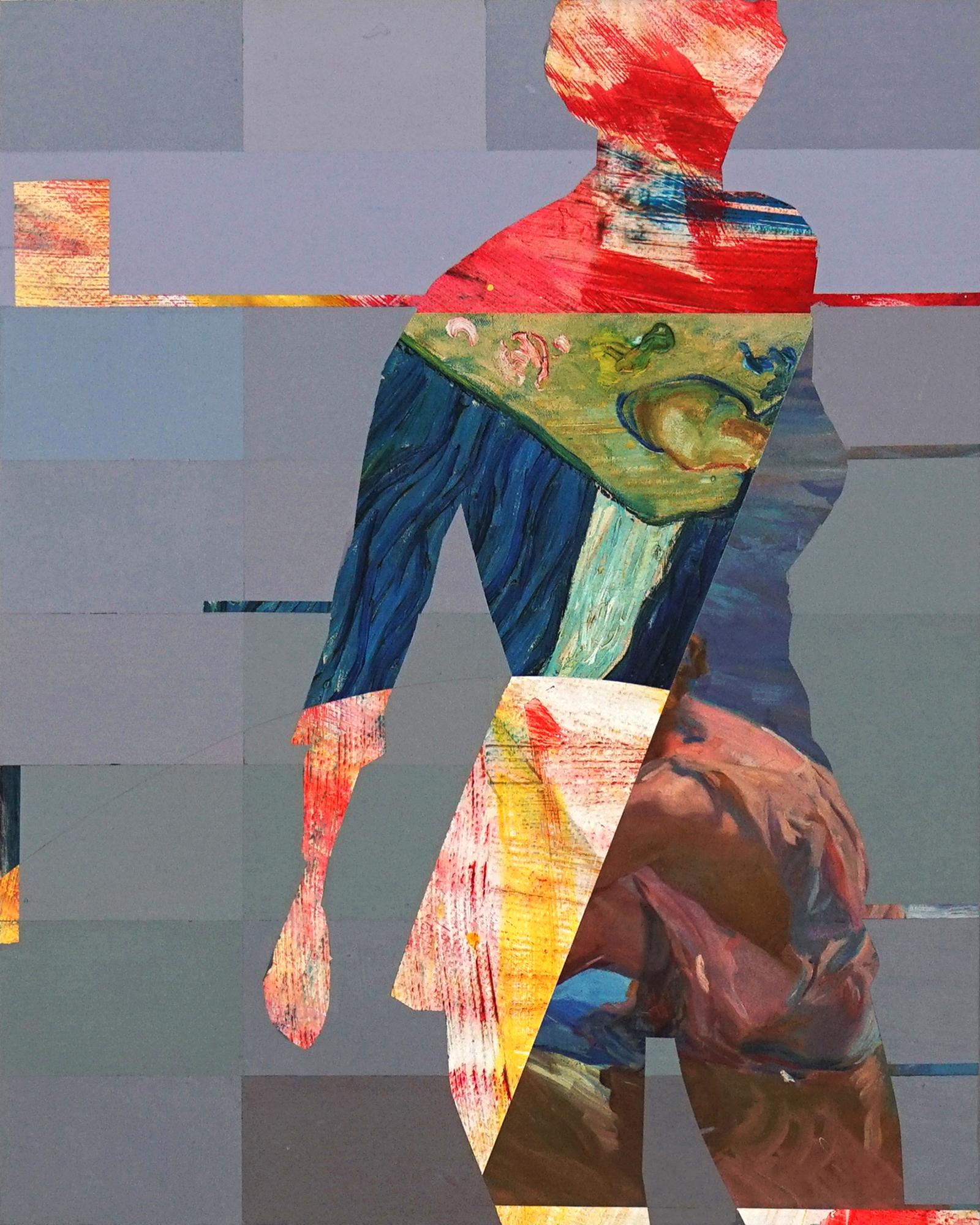 Pixel Study 6 - colorful abstract and figurative painting and photo of a women