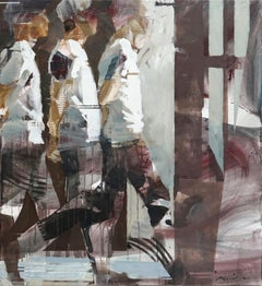 Transitions II - grey white brown abstract and figurative painting