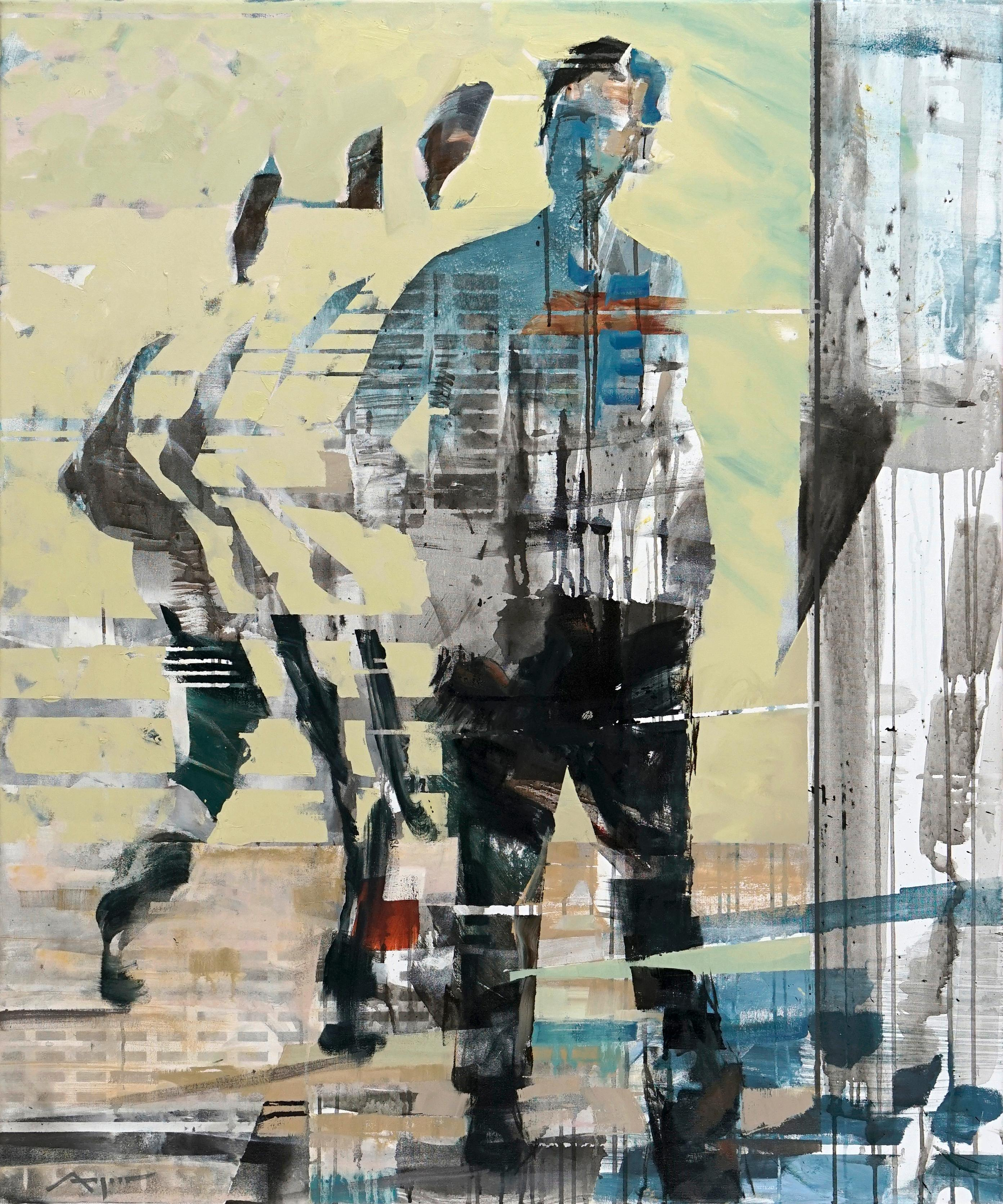 Transitions III - yellow grey blue brown abstract and figurative painting
