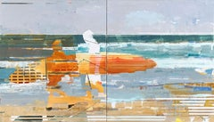 Two Surfers, diptych, figurative, abstract, oil on linen