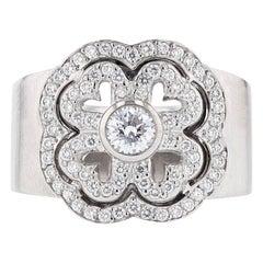Michael B 18 Karat White Gold Petite Gardenia Diamond Ring