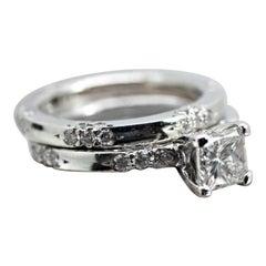 "Michael B Diamond Princess Cut ""Lace Collection"" Wedding Set"