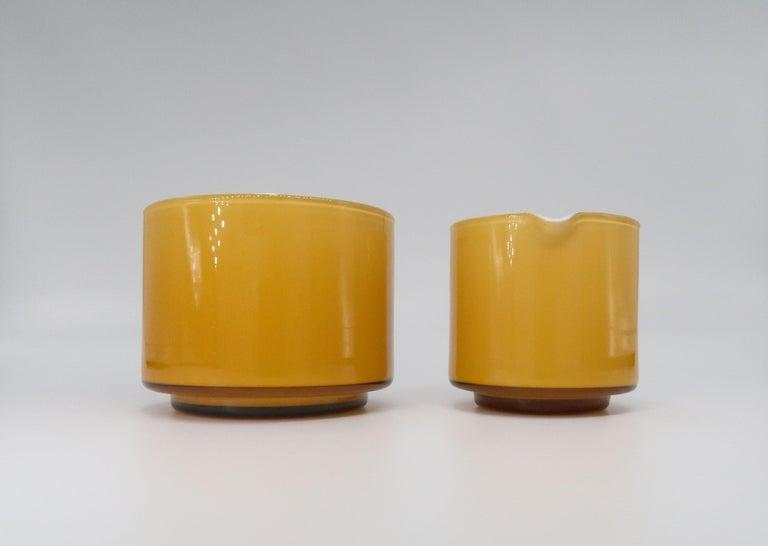 Scandinavian Modern Michael Bang for Danish Holmegaard Glass Sugar Bowl and Creamer Set, 1970 For Sale